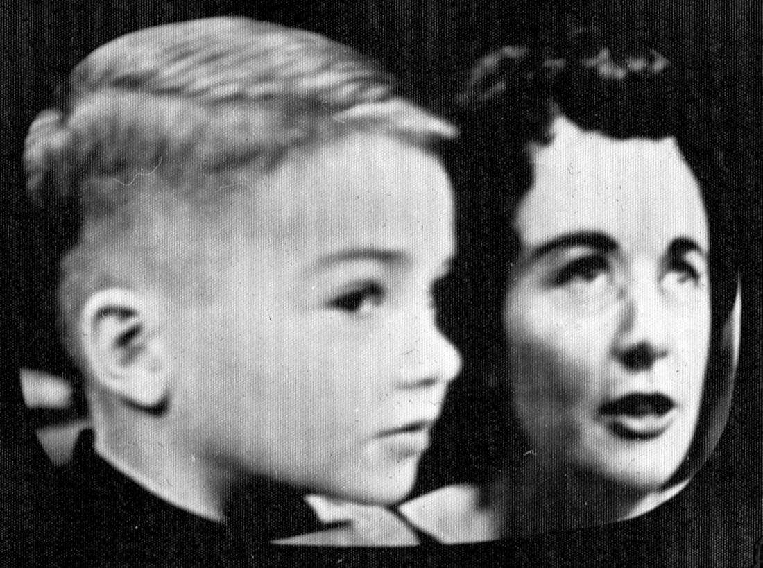 1957-01-15 Guy, 6 ans à la télé (La boîte à surprises), et Madeleine Harbour